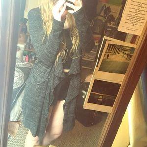 ZARA Knit Asymmetrical Multi-Gray Cardigan
